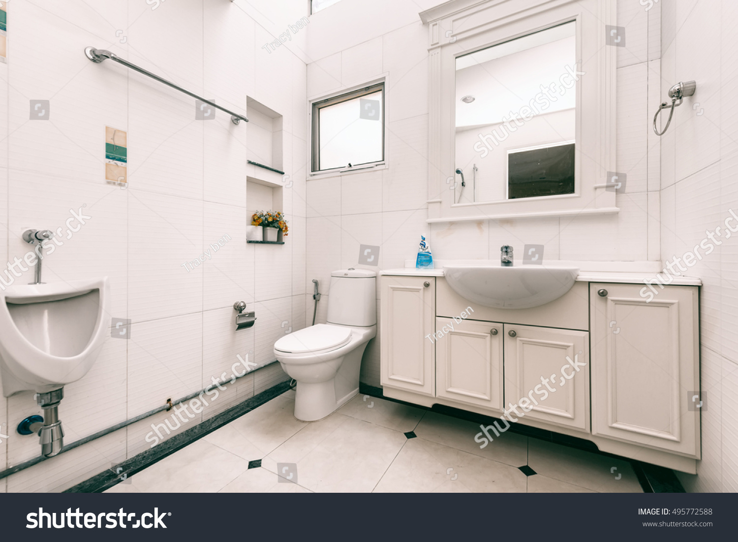 White toilet bowl bathroom stock photo 495772588 shutterstock - Lavish white and grey kitchen for hygienic and bright view ...