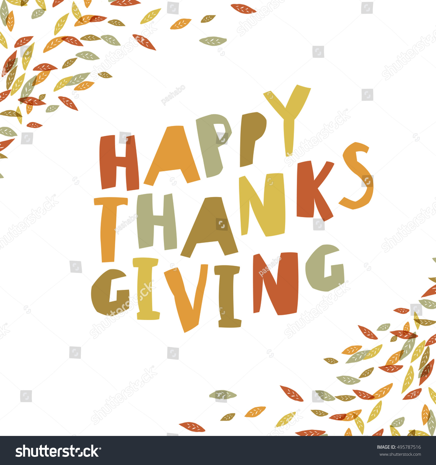 Happy Thanksgiving Card Design Paper Cut Stock Vector Royalty Free