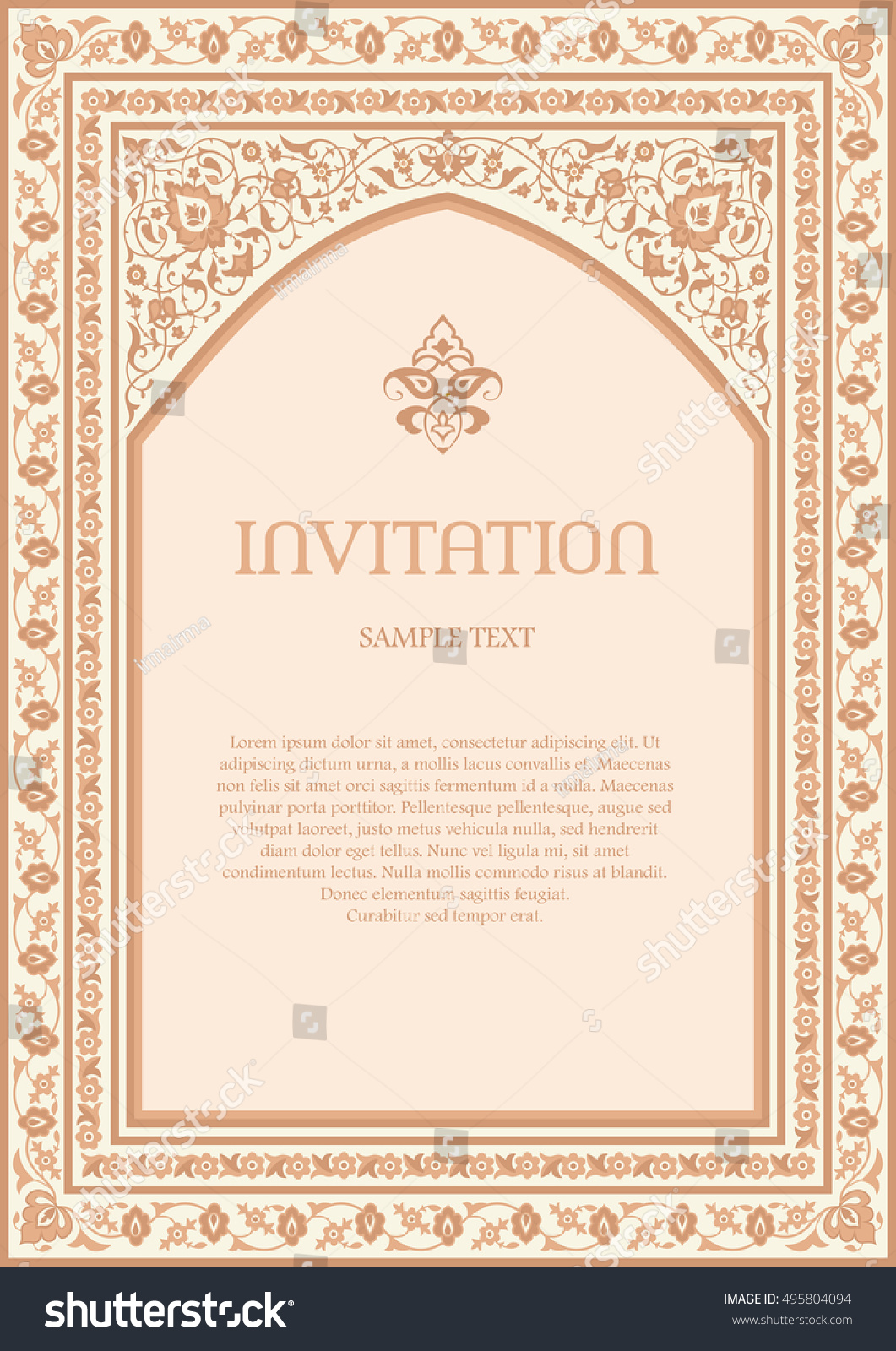 Invitation Design Template Ornate Frame Arabic Stock Vector (2018 ...
