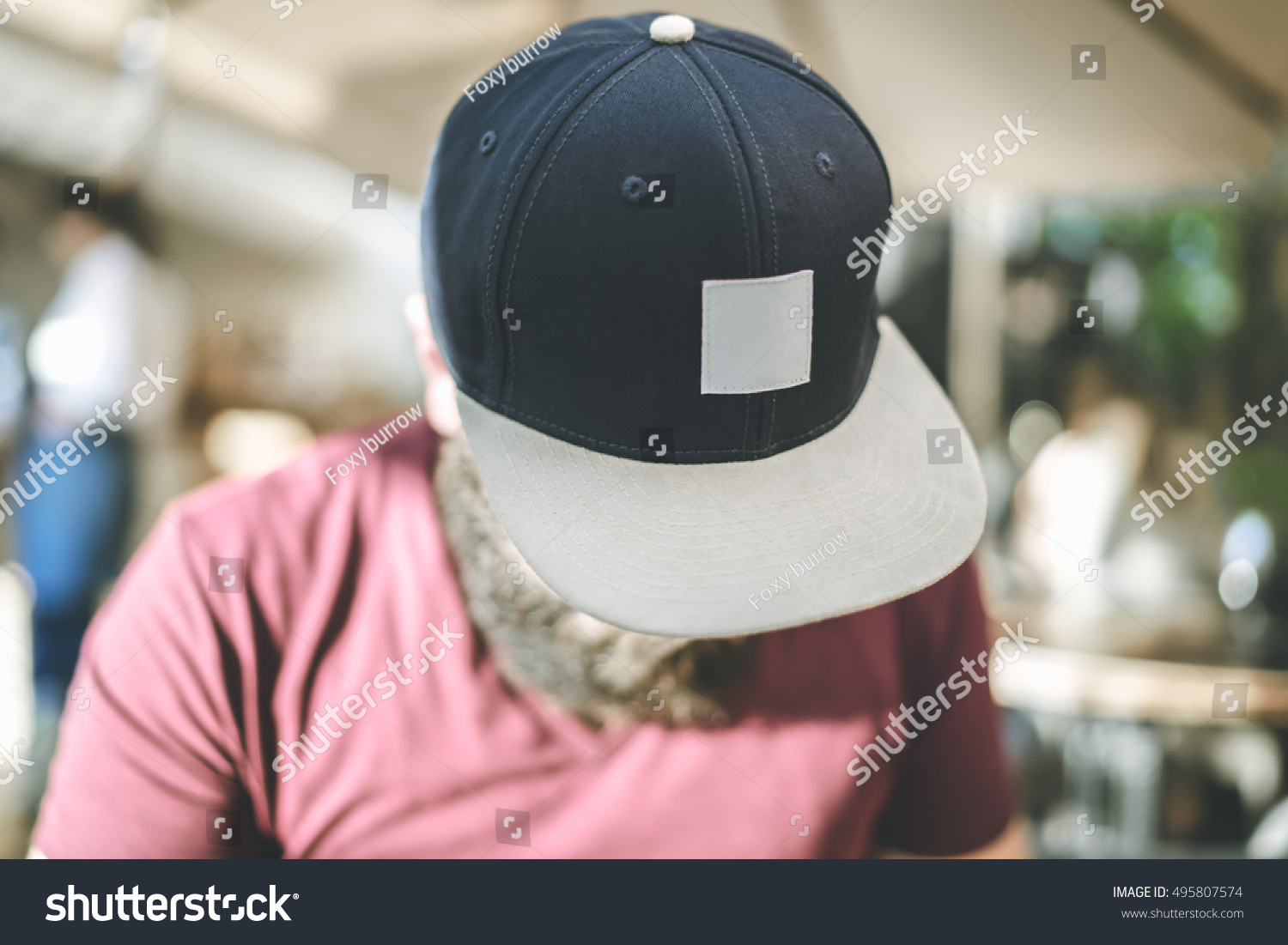 Closeup Of A Baseball Cap On The Mans Head Face Hidden Visor