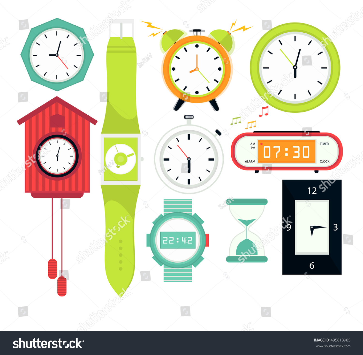 Types alarms clocks digital watch timer stock vector 495813985 types of alarms clocks digital watch and timer stopwatch and hourglass symbol of amipublicfo Choice Image