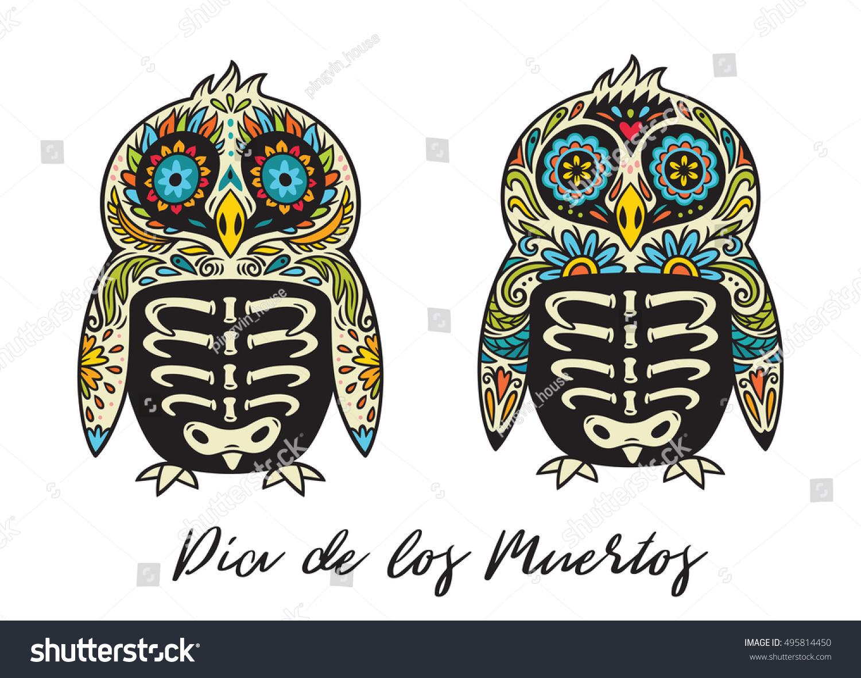 Greeting Card Sugar Skull Penguins Mexican Stock Vector Royalty