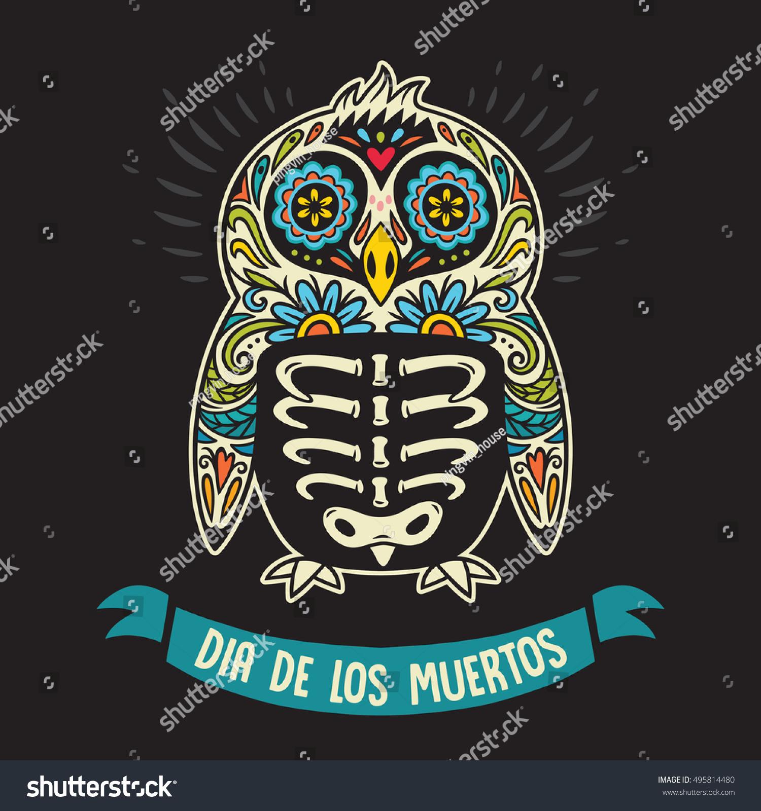 Greeting Card Sugar Skull Penguin Mexican Stock Vector Royalty Free