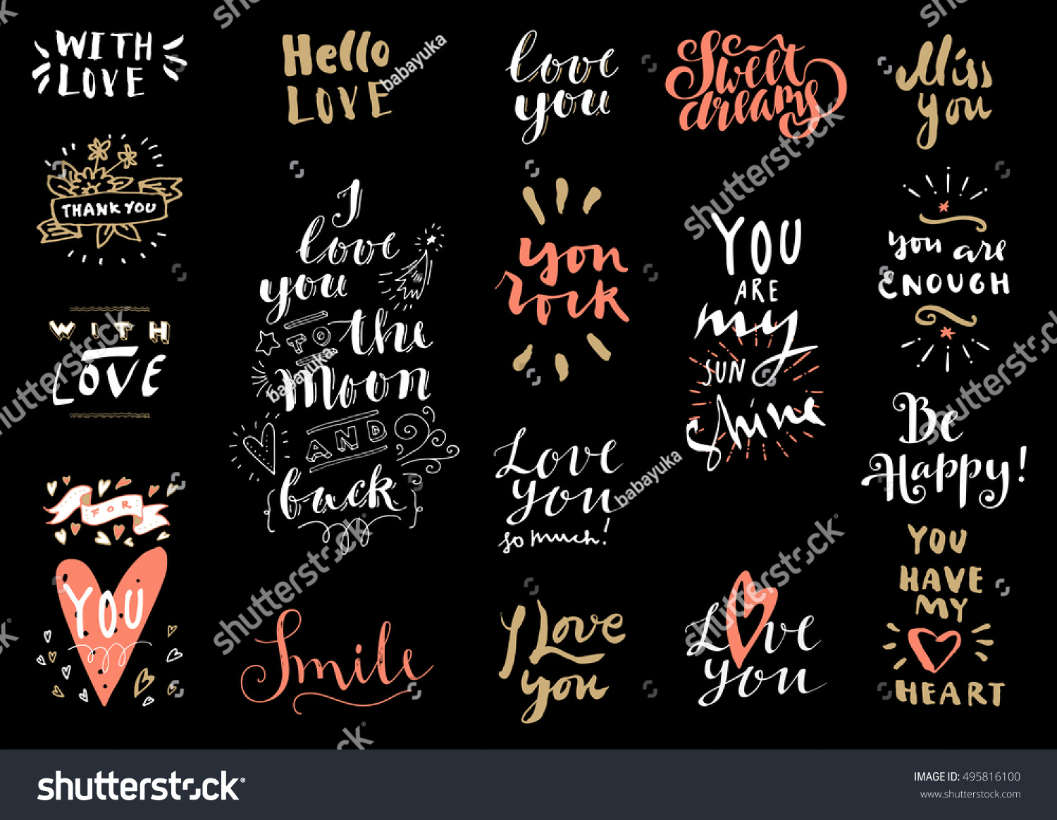 Vector set of Love hand drawn quotes Love messages Hello Love With Love