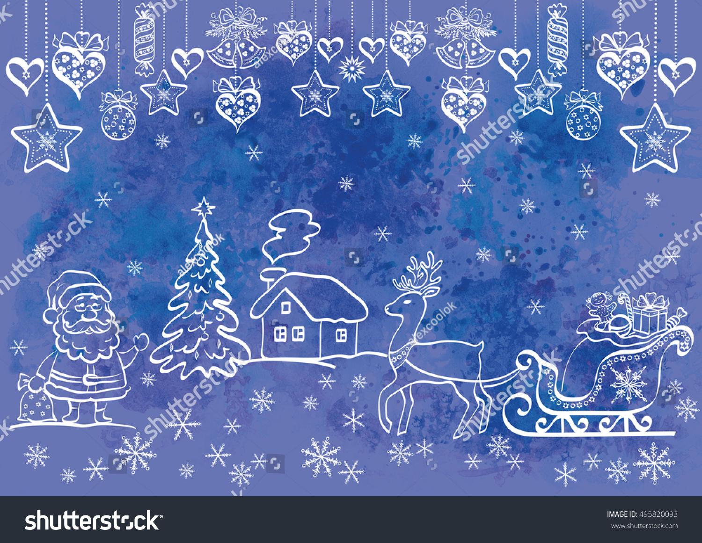 Christmas background cartoon santa claus holiday stock christmas background cartoon santa claus and holiday symbols and decorations white contours on blue buycottarizona Images