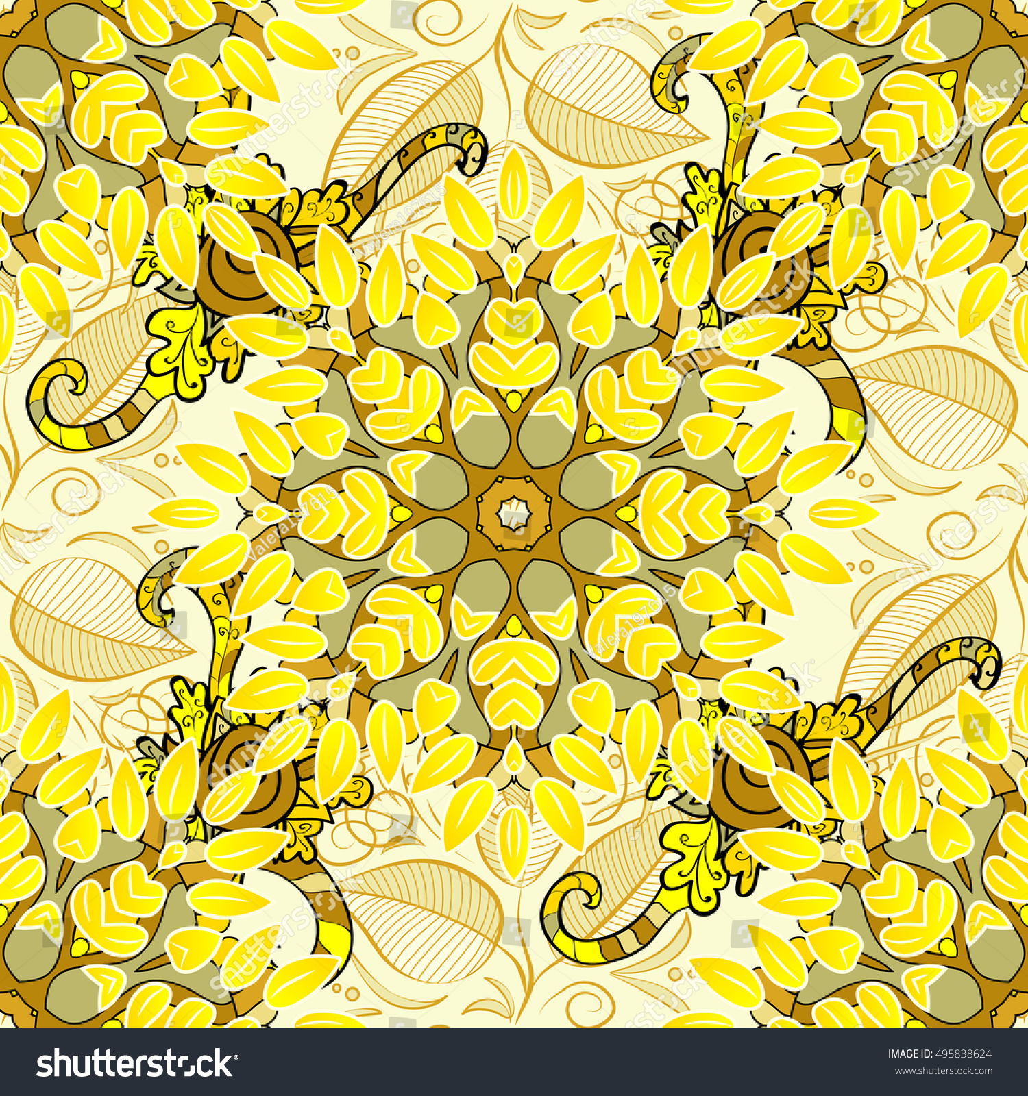 Seamless Floral Pattern Light Yellow Flowers Stock Vector 495838624