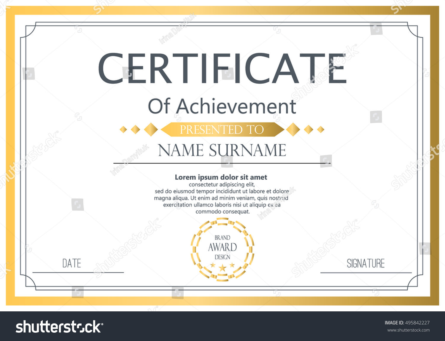 Vector certificate template vector award graduation stock vector vector certificate template vector award graduation certificate achievement success template border business paper coupon cheaphphosting Images