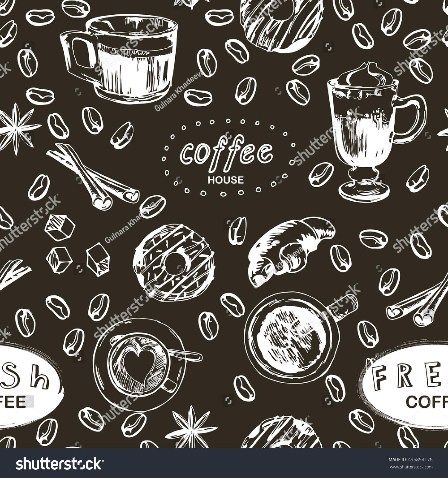 seamless doodle coffee pattern -#main