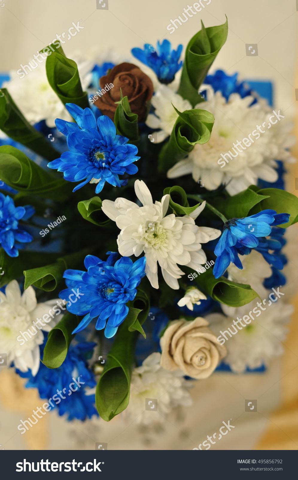 Blue white flower wedding decorations stock photo 495856792 blue and white flower as a wedding decorations izmirmasajfo