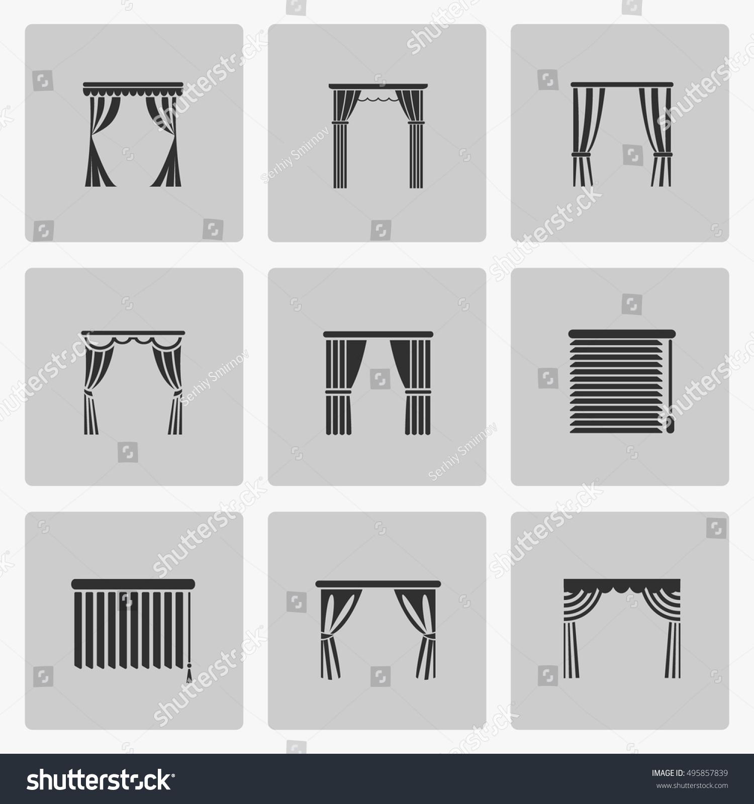 window blinds jalousie symbol window draperies stock vector 495857839 shutterstock. Black Bedroom Furniture Sets. Home Design Ideas