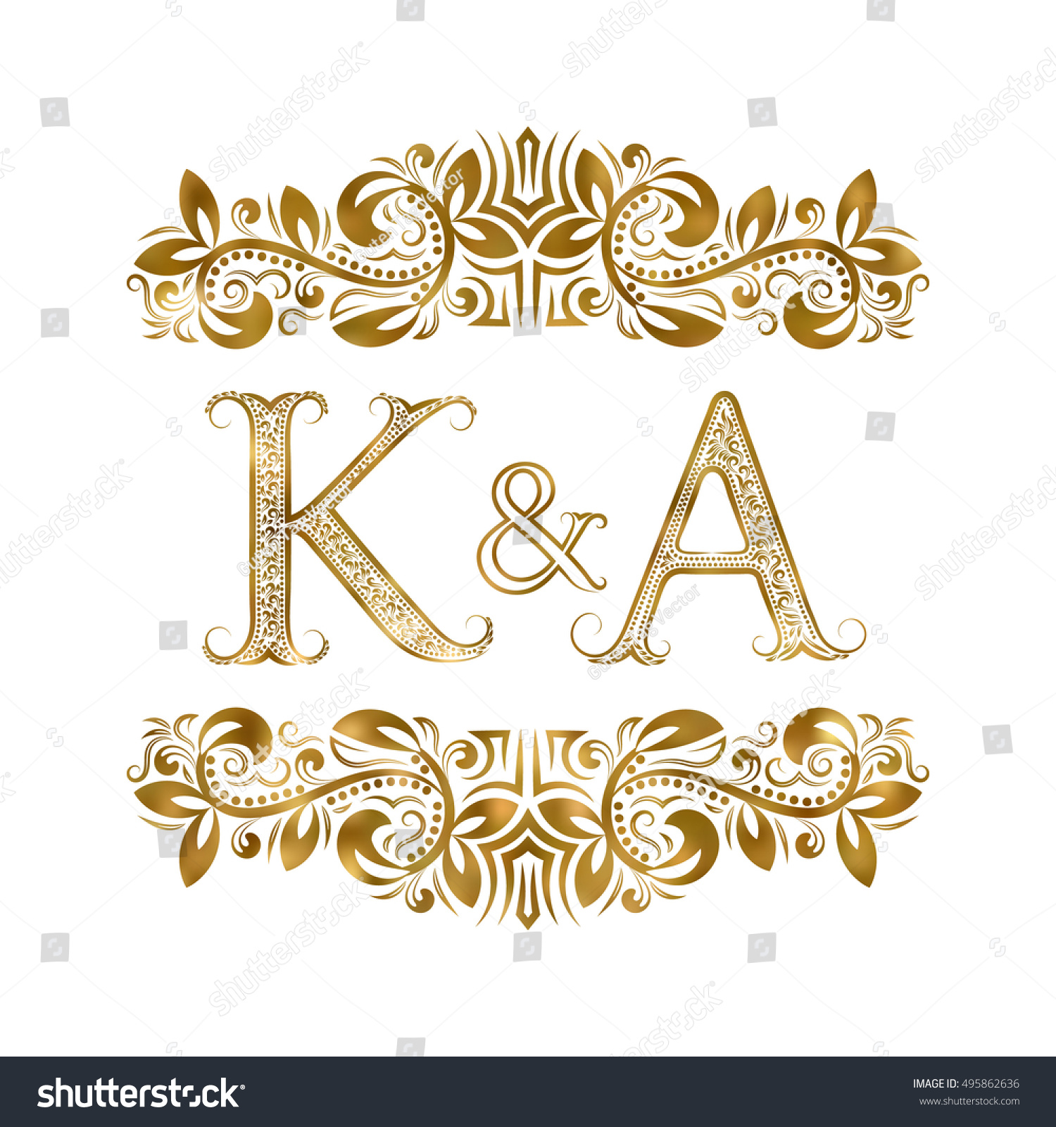 K And A Vintage Initials Logo Symbol. The Letters Are Surrounded By  Ornamental Elements.