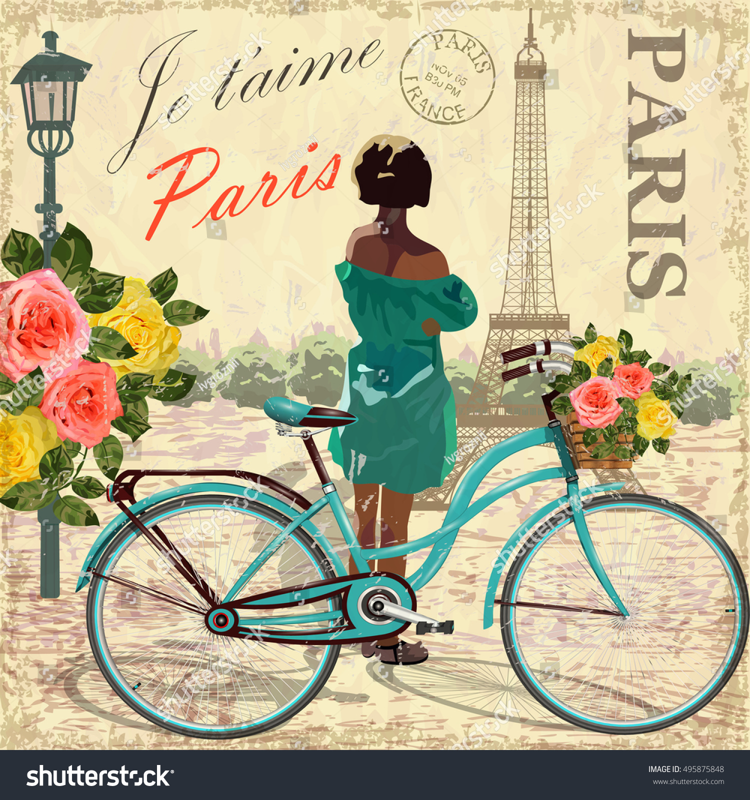 paris vintage poster stock vector 495875848 shutterstock. Black Bedroom Furniture Sets. Home Design Ideas