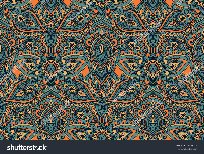 Henna Mehndi Vector : Vector seamless pattern hand drawn henna stock 495878731