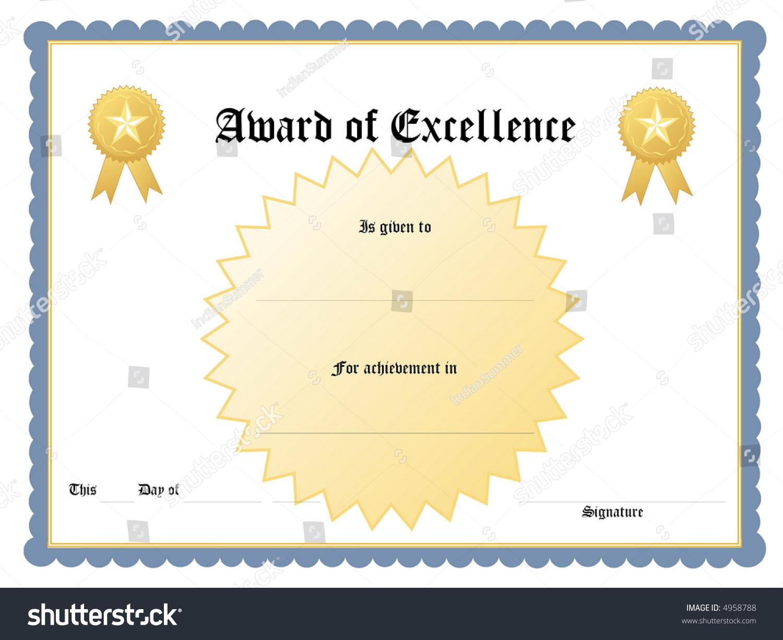 Blank Award Certificate Form  Award Certificate Format