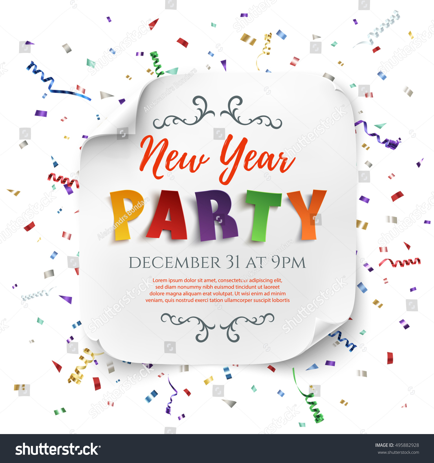 New Year Party Poster Template Ribbons Stock Vector (Royalty Free ...