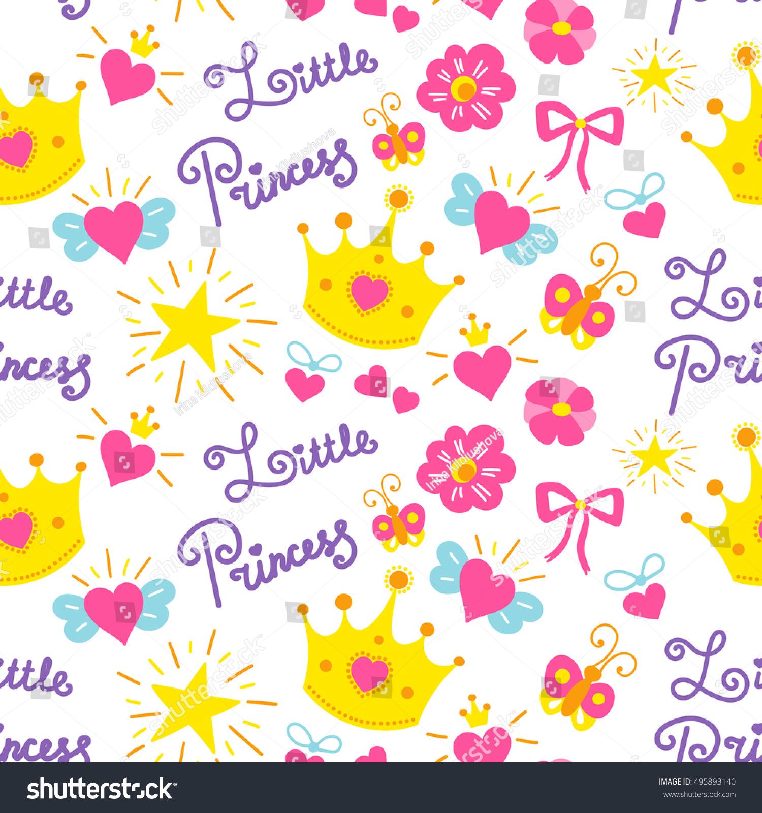 Little Princess Pattern Vector Cute Girl Stock Vector Royalty Free 495893140