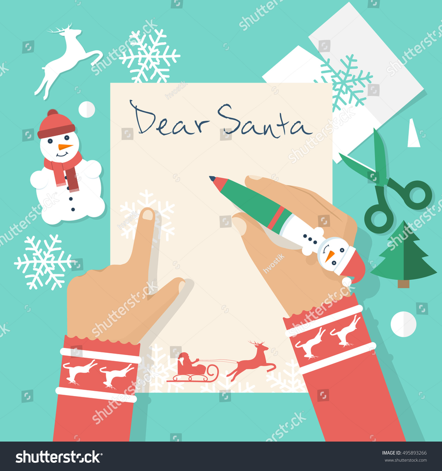 Dear Santa Letter Girl Writing Letter Stock Vector