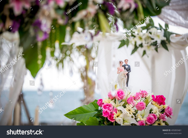 Wedding Flowers Decoration Flower Decoration Outdoor Wedding Ceremony Stock Photo 495893461