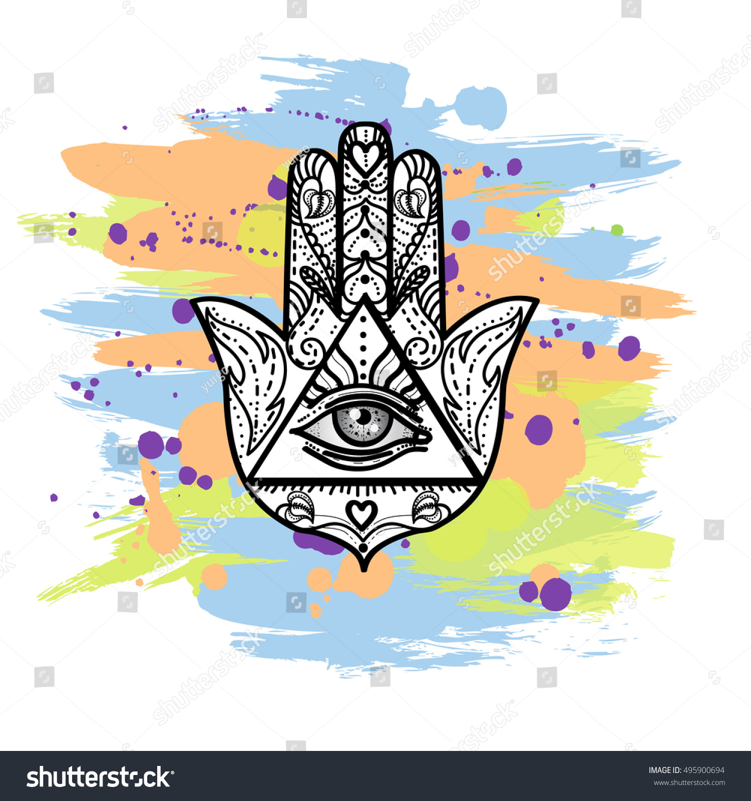 Drawing Hamsa Hand Symbol All Seeing Stock Vector Royalty Free