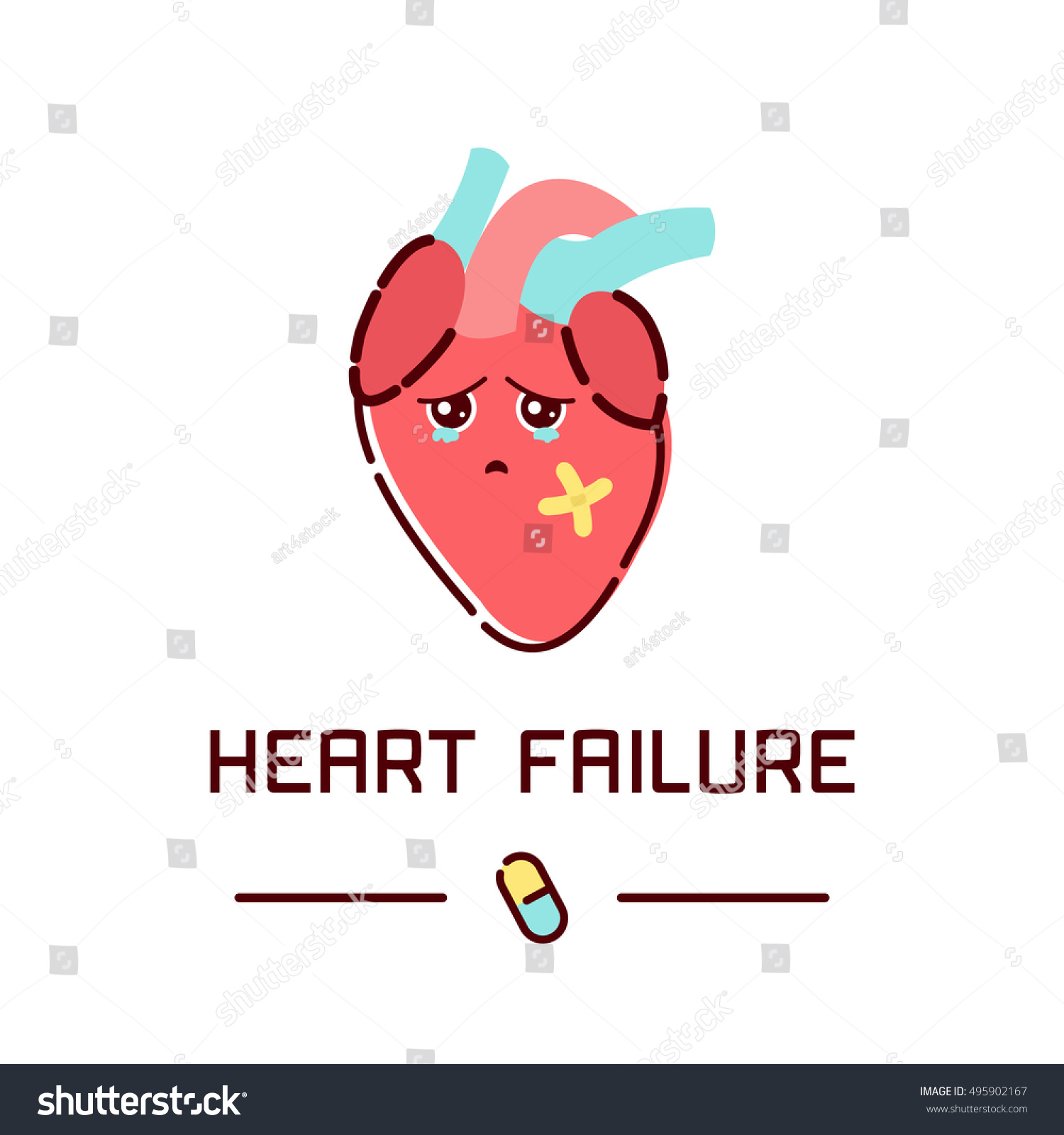 Heart Failure Disease Poster Human Body Stock Vector 495902167 ...