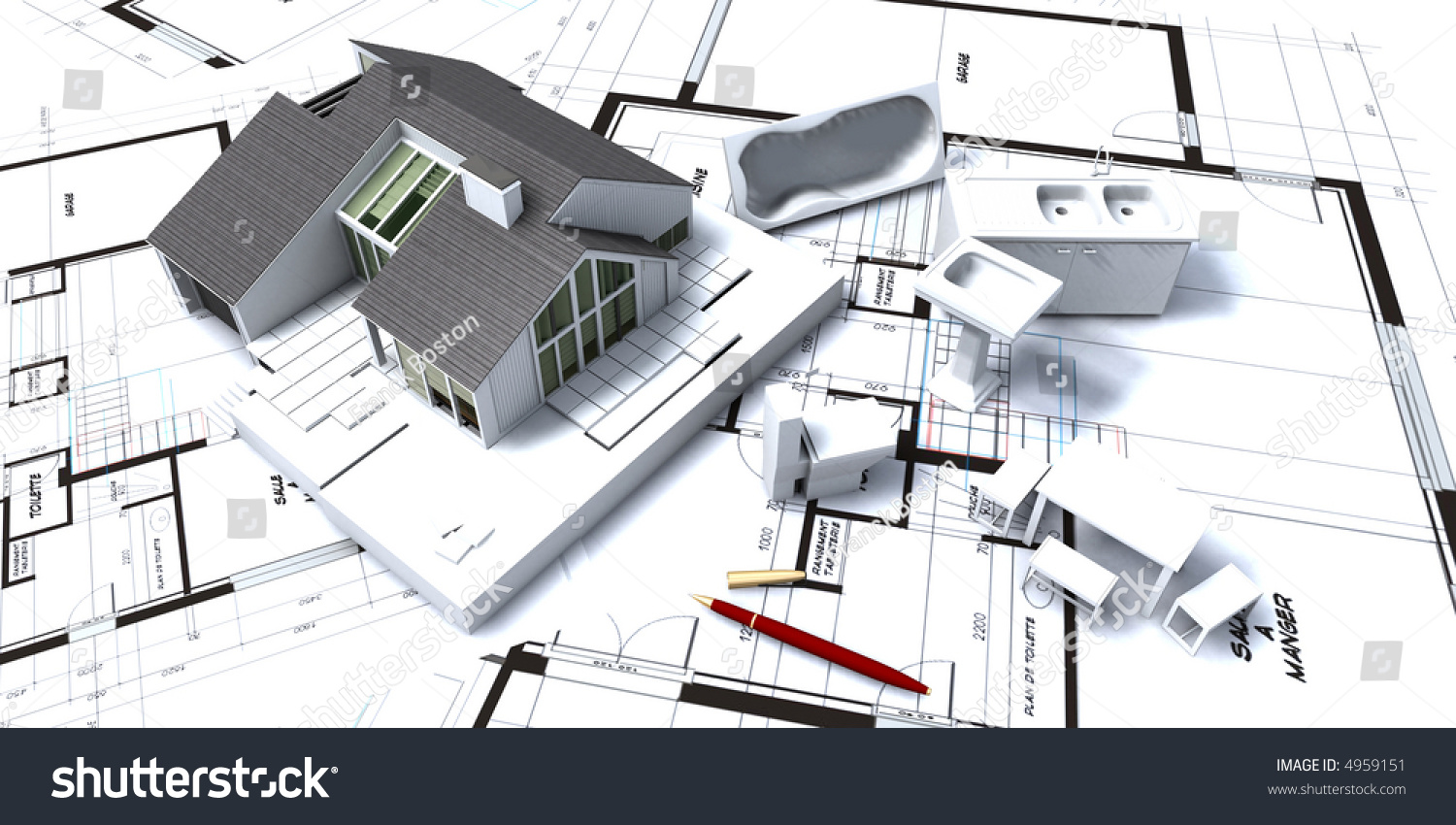 3d Rendering Of Residential House On Architect S Blueprints With Miniature Furniture And Home Appliances