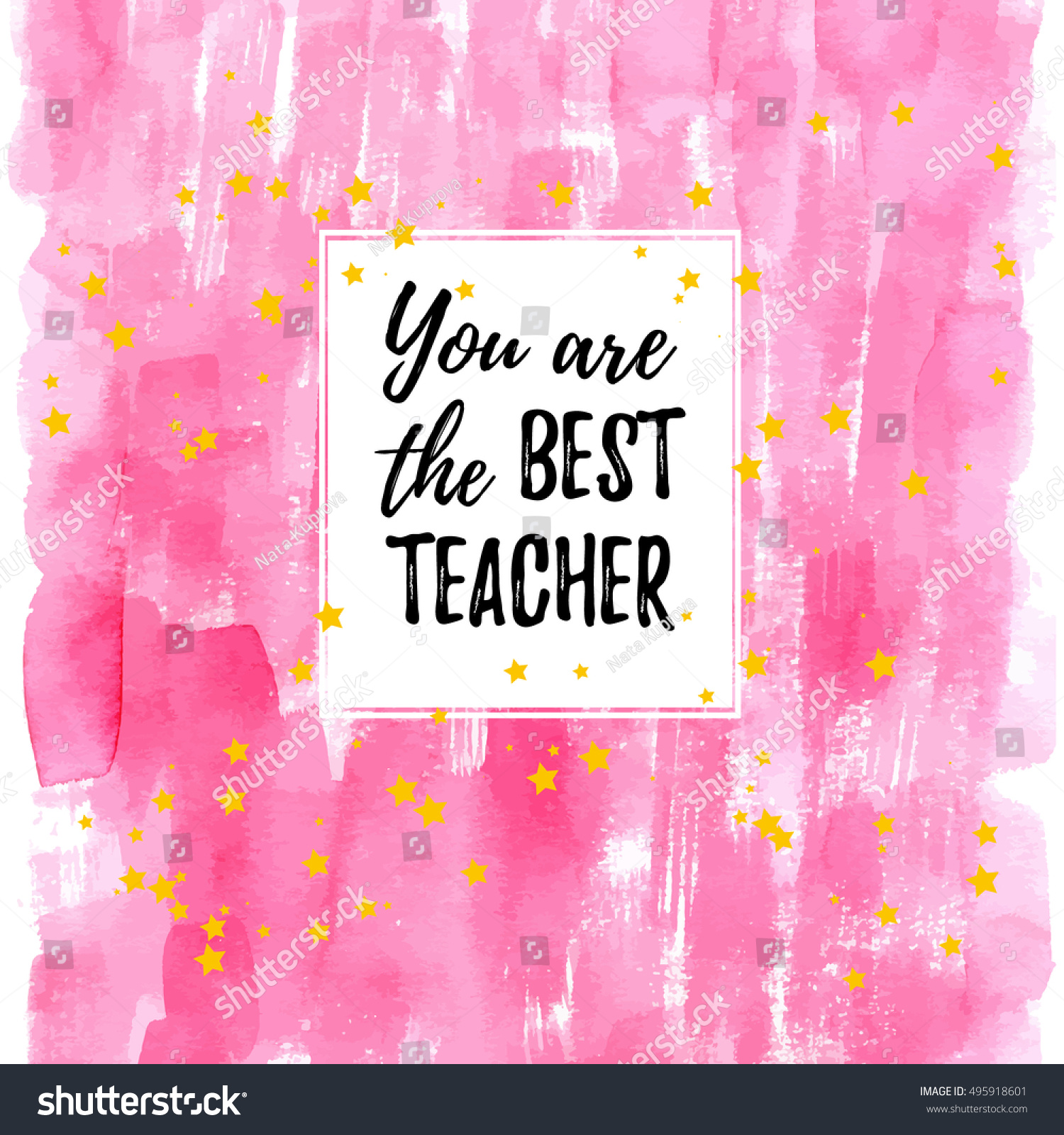 You Are The Best Quotes: You Best Teacher Label Greeting Card Stock Vector