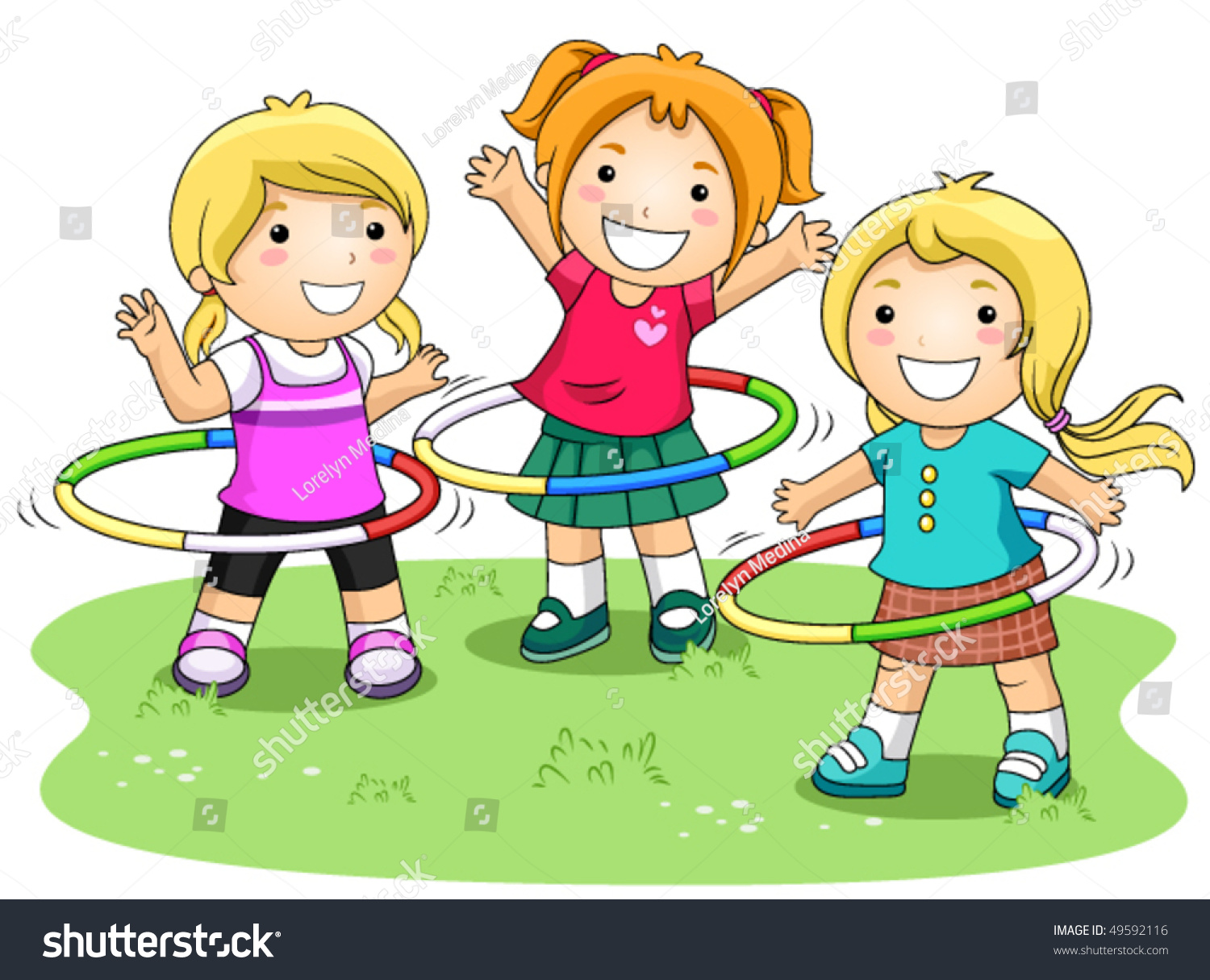 Children Playing Hula Hoops Park Vector Stock Vector