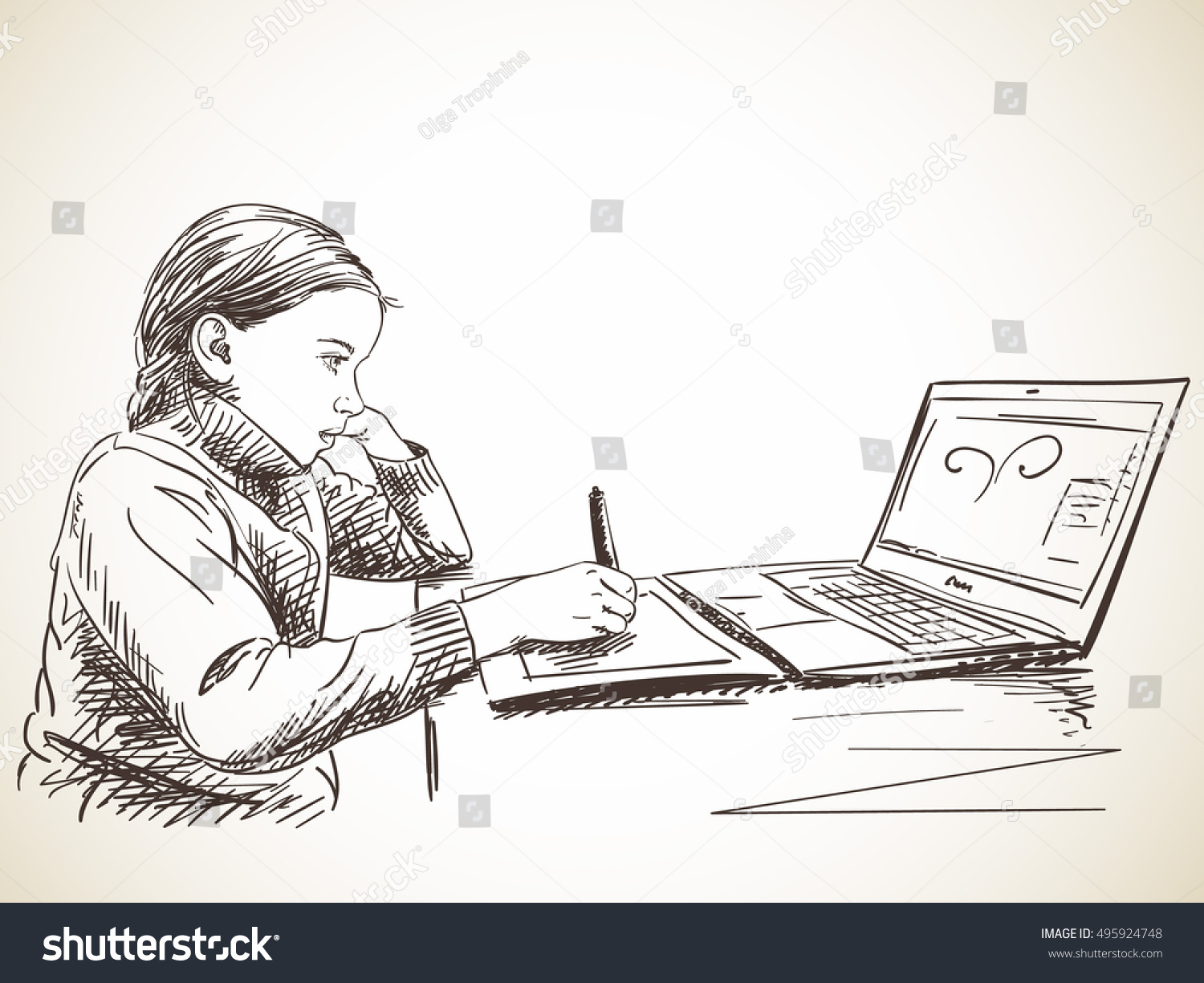 Notebook And Pen Sketch Stock Vector Art More Images Of: Sketch Girl Studying Draw Using Pen Stock Vector 495924748