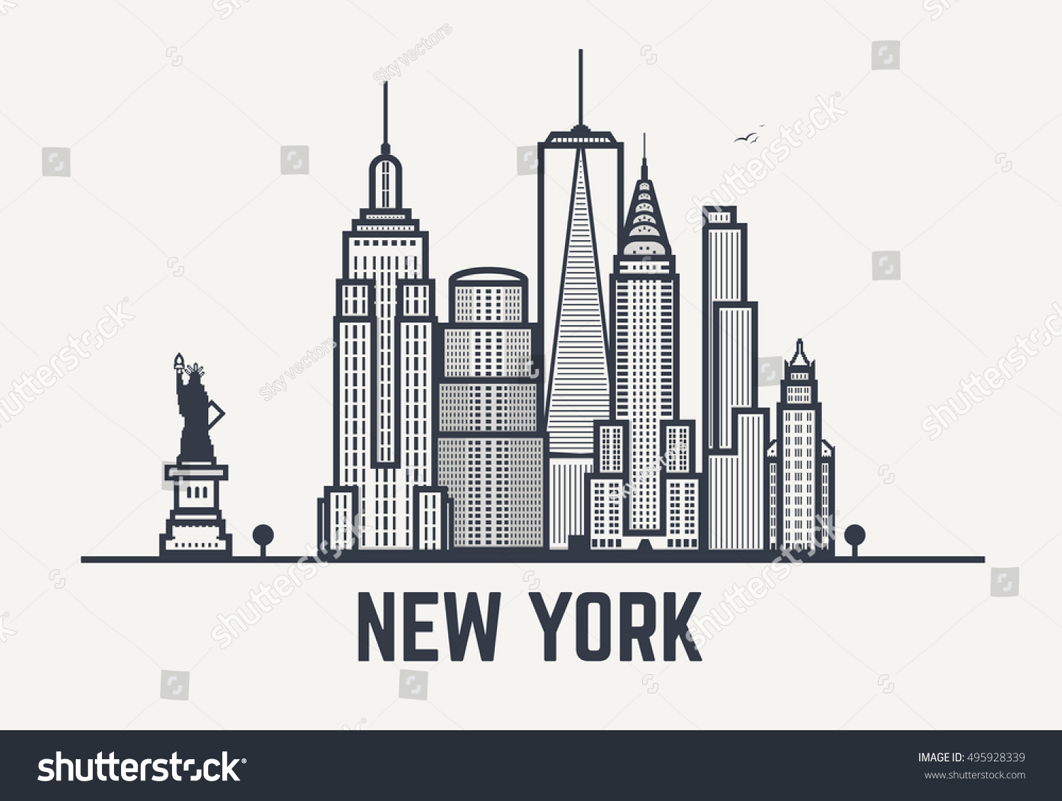 Line Drawing New York City Skyline : New york city architecture skyline silhouette stock vector