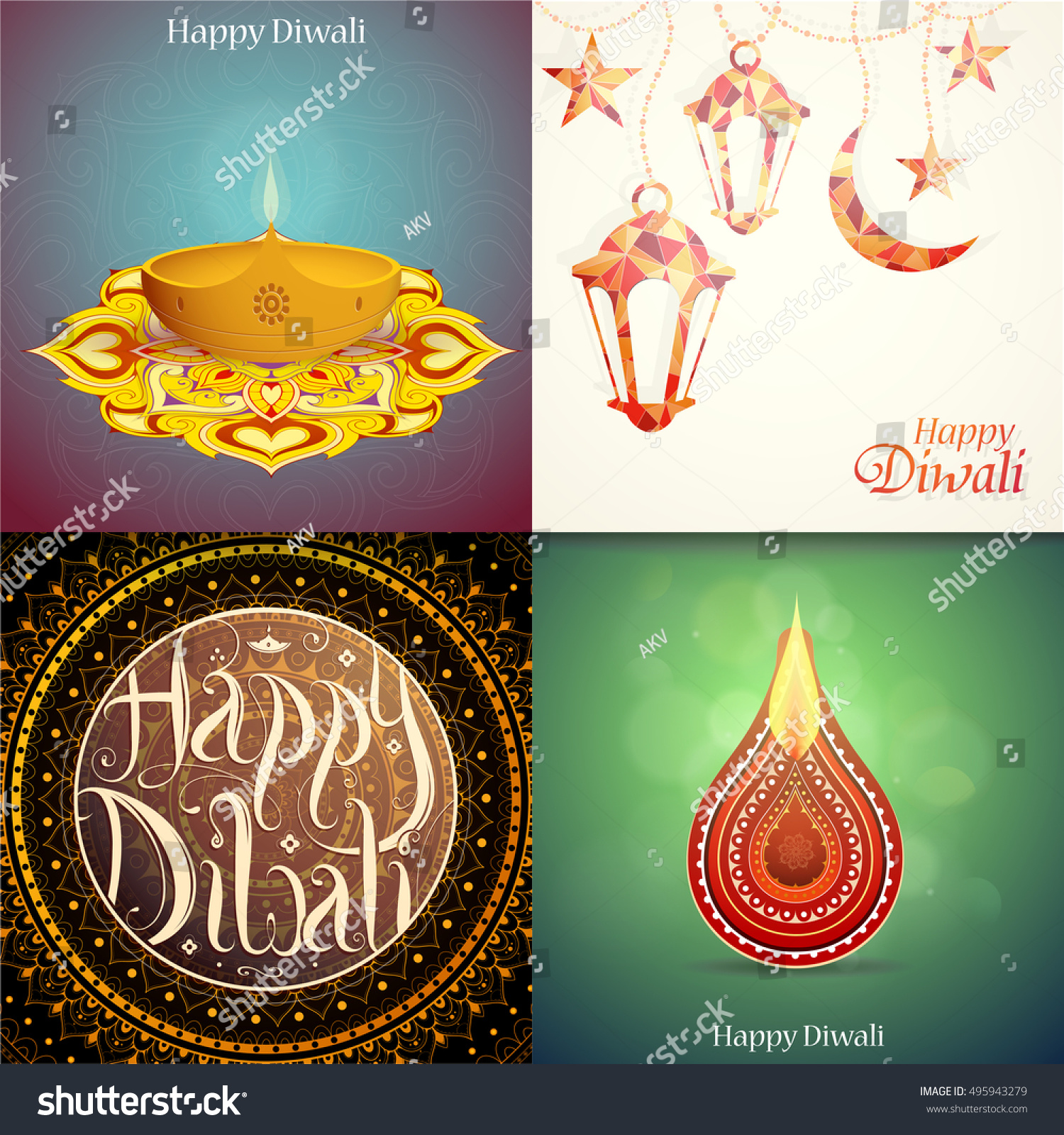 Set Indian Festival Diwali Greeting Cards Stock Vector 495943279