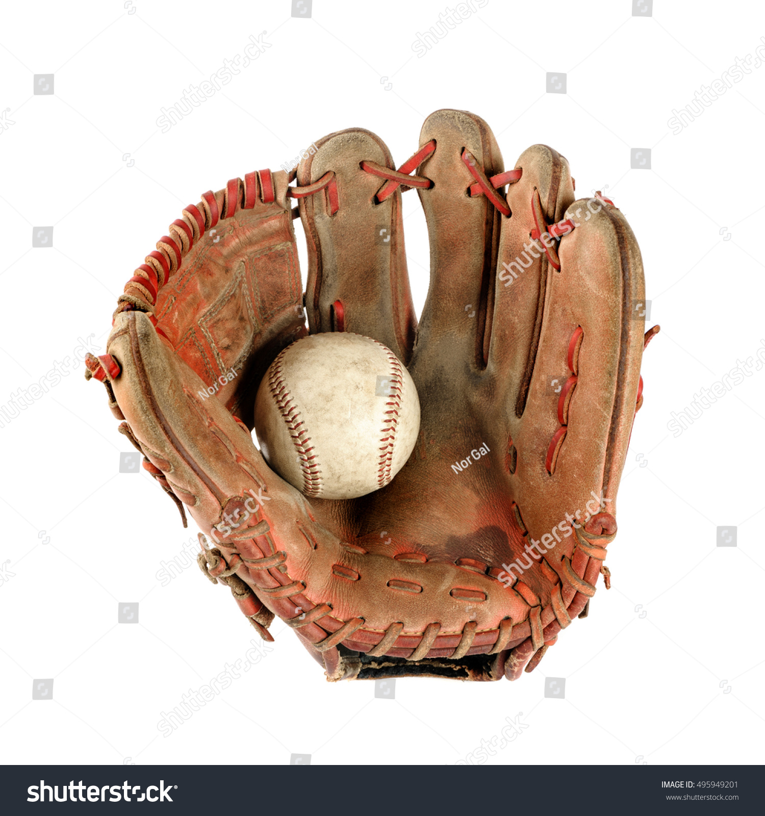 old vintage baseball glove with the baseball held in the palm isolated over white background #495949201