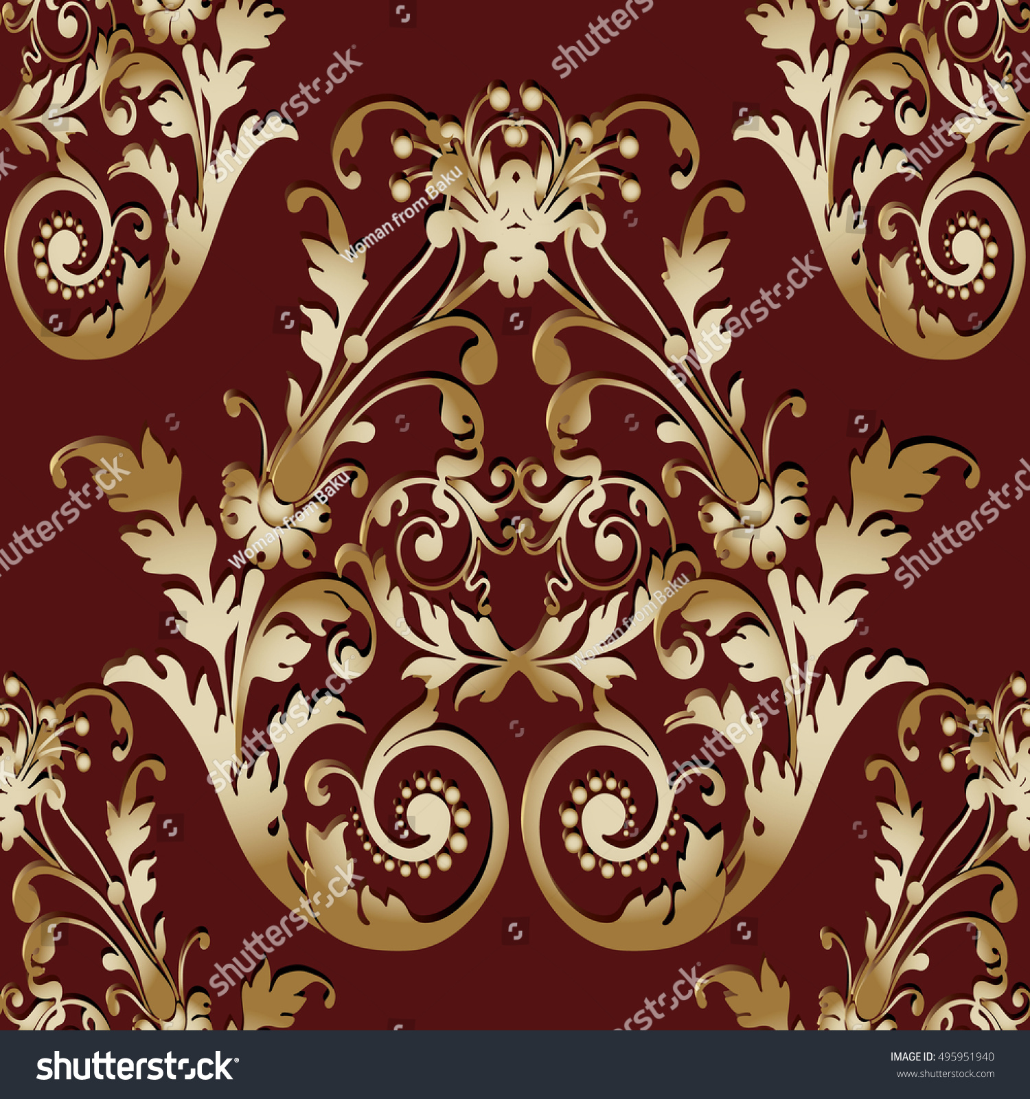 Modern Baroque Damask Dark Red Floral Stock Vector Royalty Free