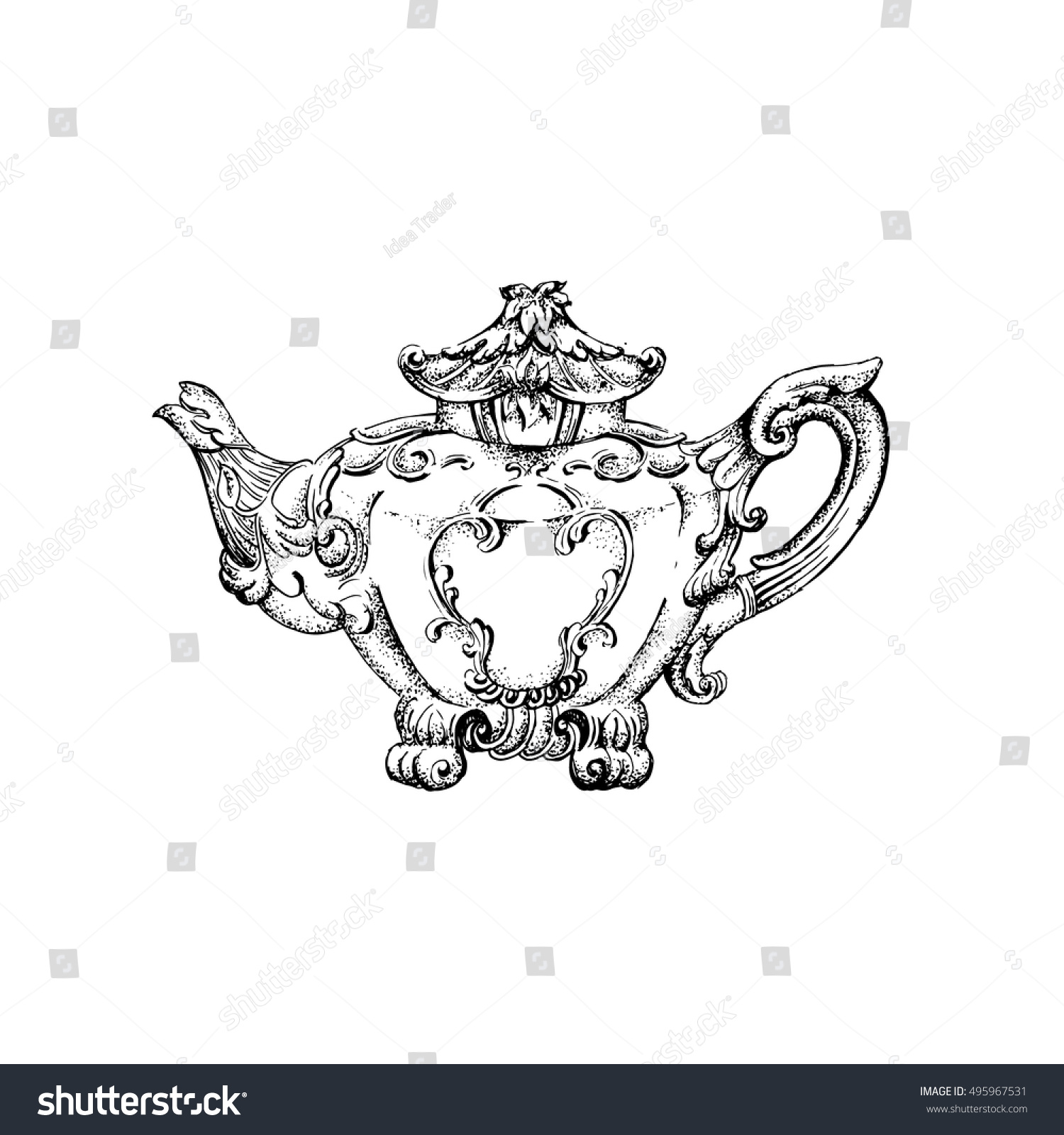 Vector Illustration Of Vintage Teapot With Floral Decor Made In Hand Drawn Sketch Style Template