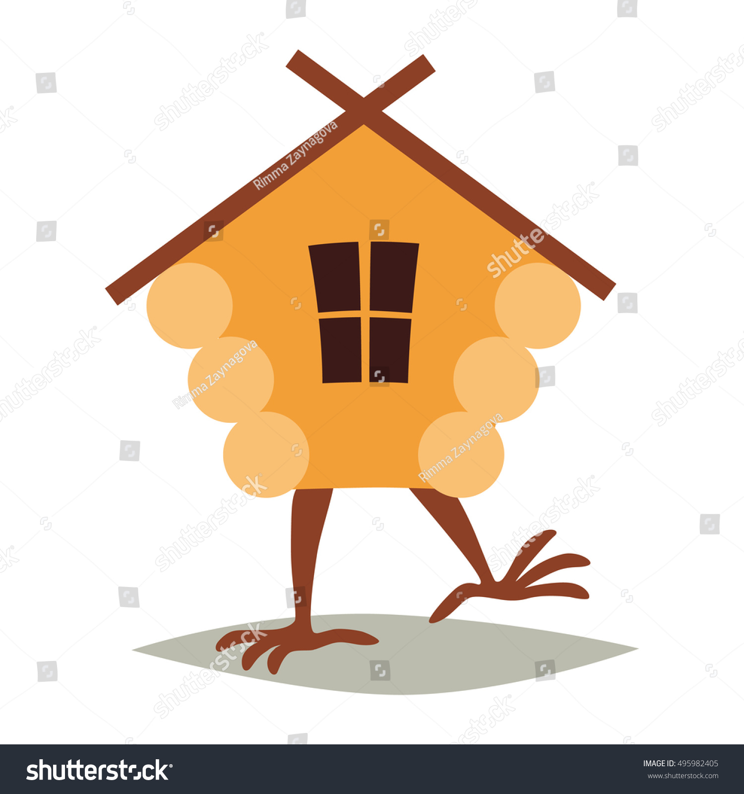 Hut House Logo: Hut On Chicken Legs Vector Cartoon Stock Vector 495982405