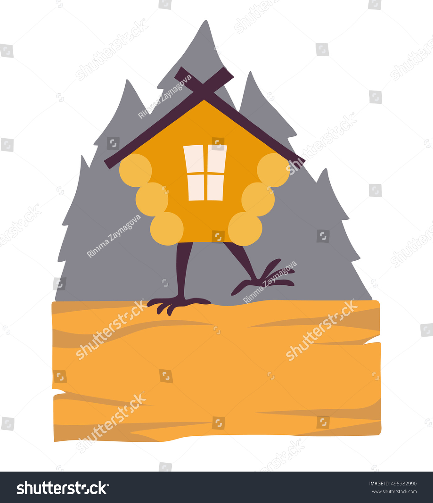 Hut House Logo: Hut Forest Vector Logo Cartoon Old Stock Vector 495982990