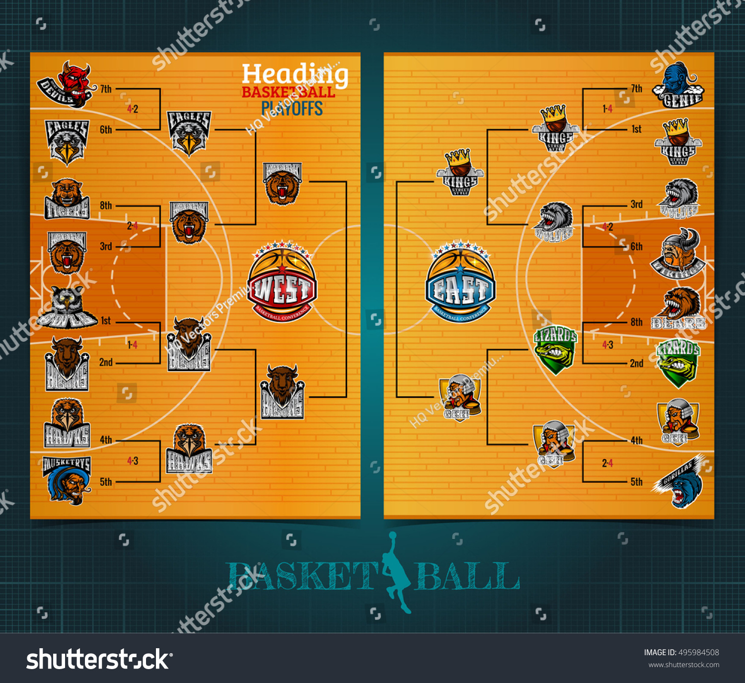 Two Sided Basketball Playoff Brochure Flayer Vectores En Stock ...