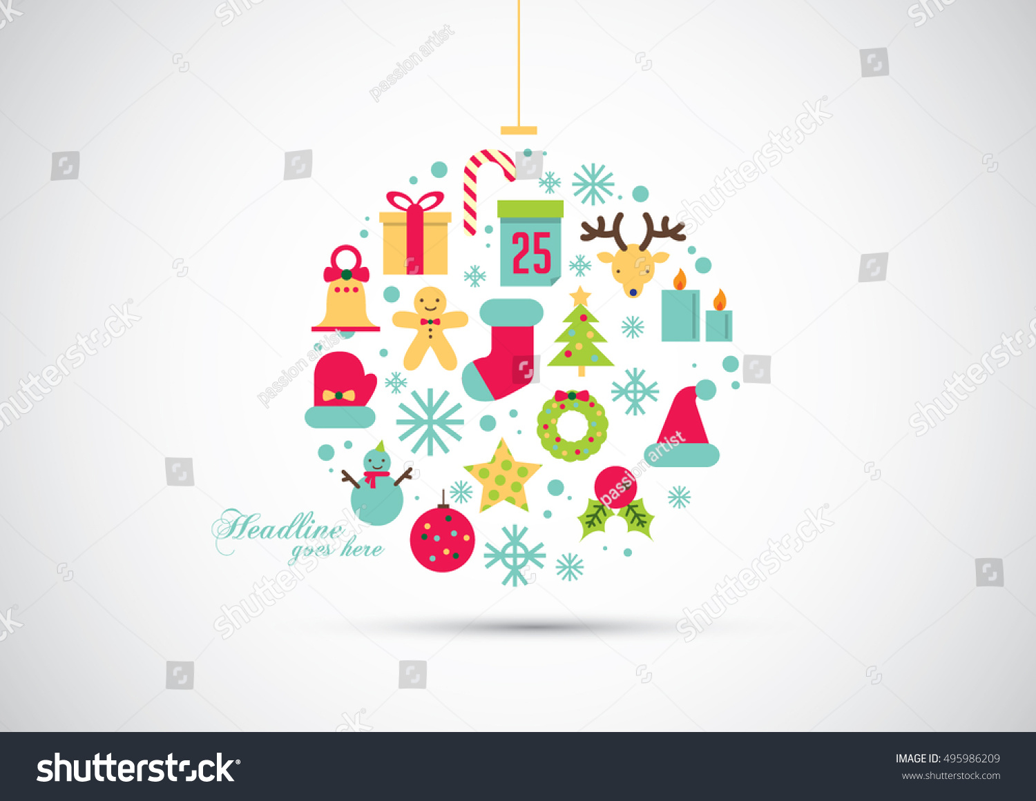 Vector of modern Christmas element and object