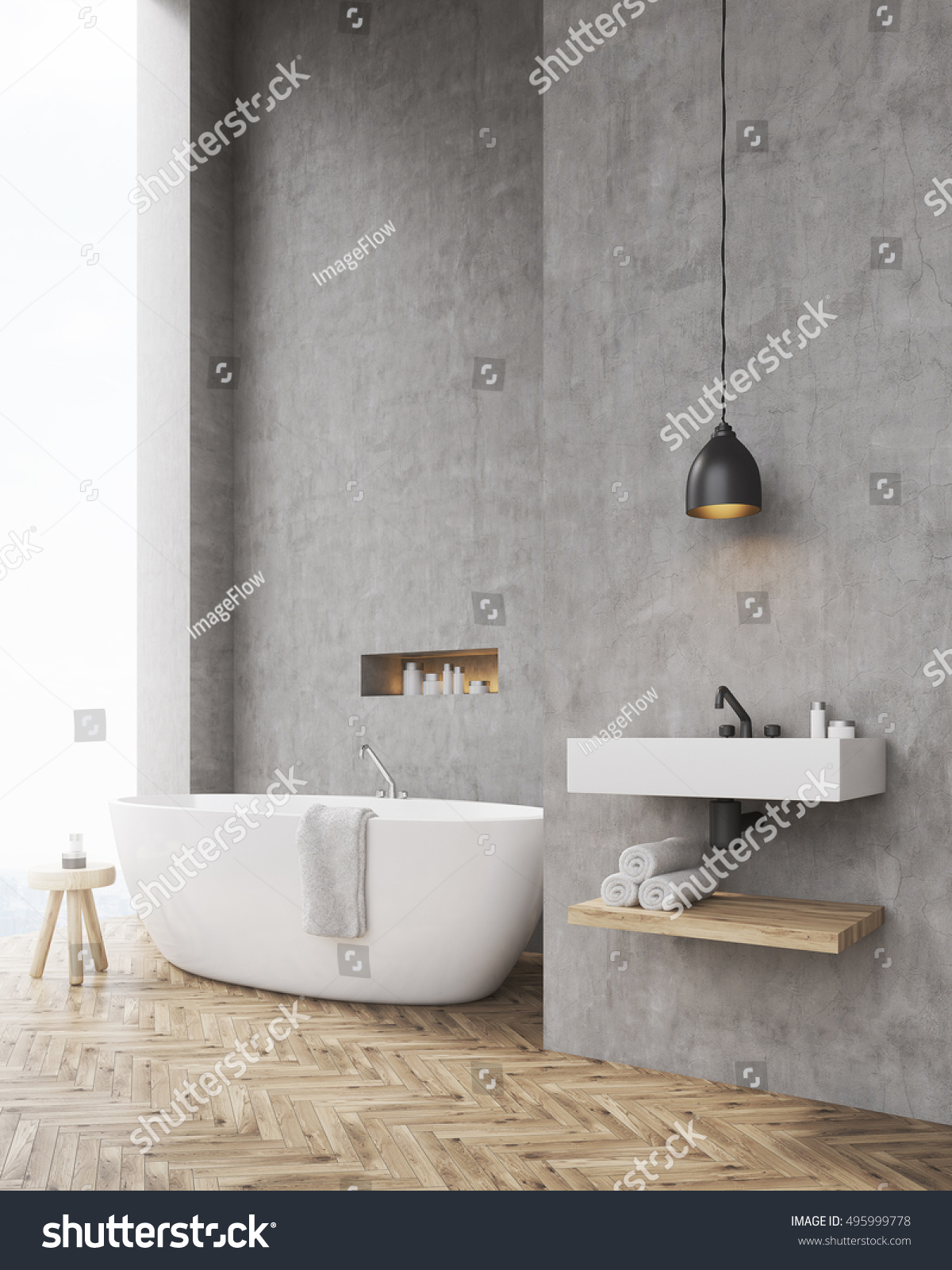 Side View Bathroom Concrete Walls Chair Stock Illustration
