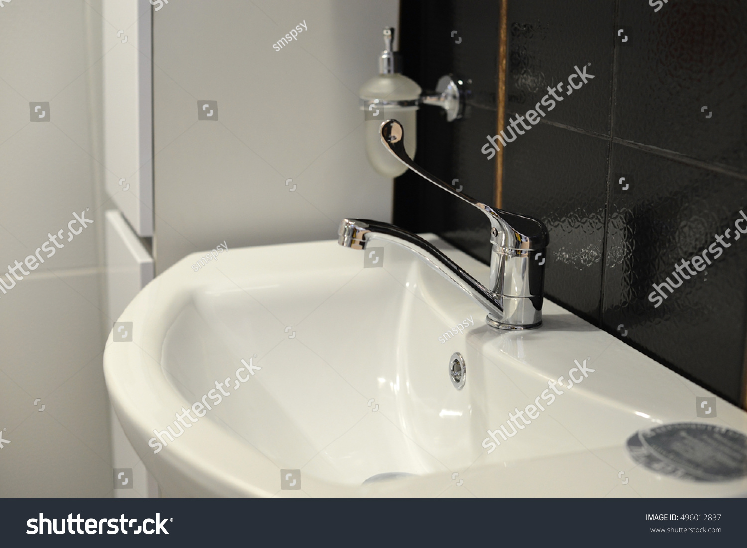 Bathroom tap with water. | EZ Canvas