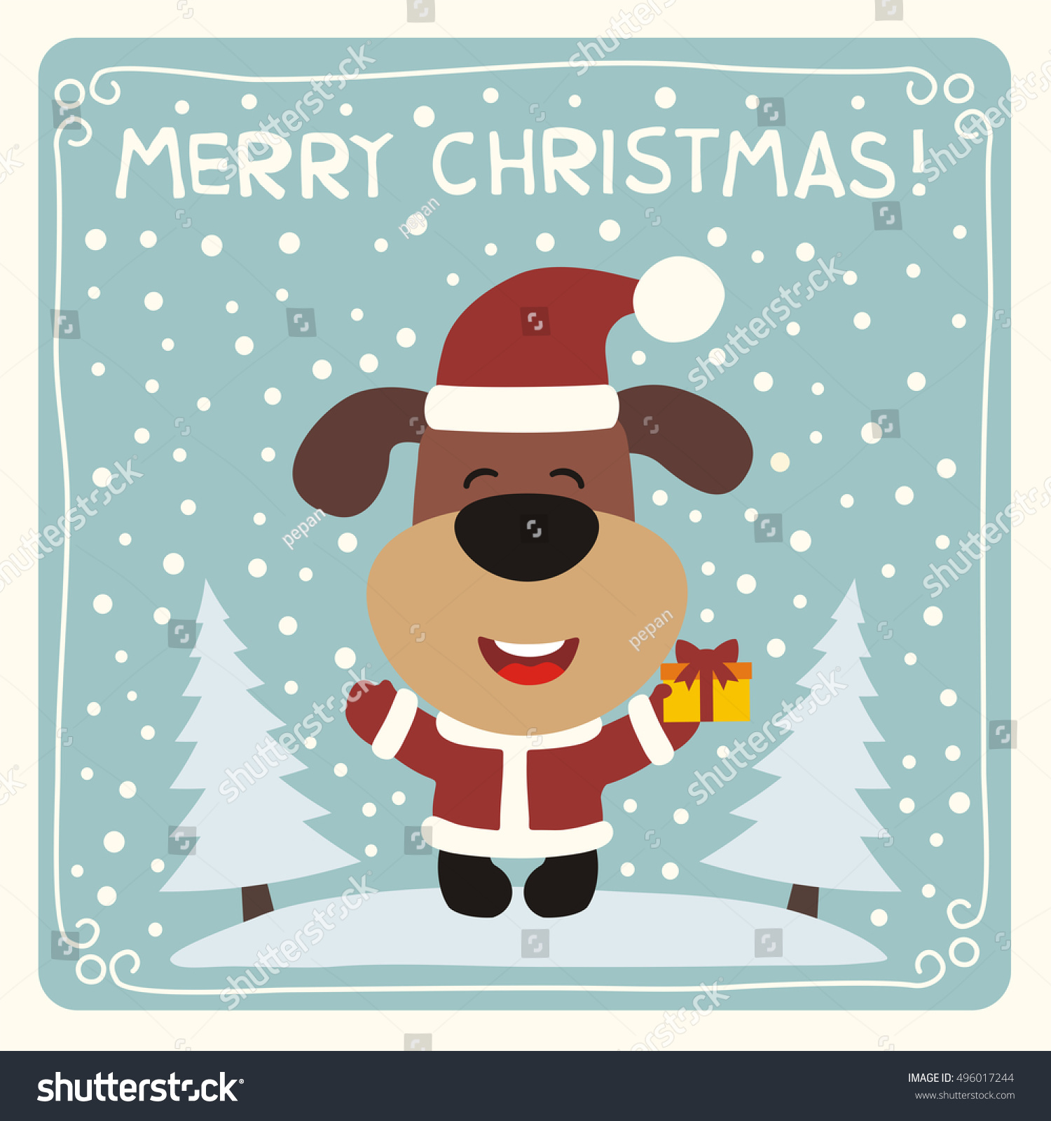 Merry Christmas Funny Pig With Gift On Background Snow Card In