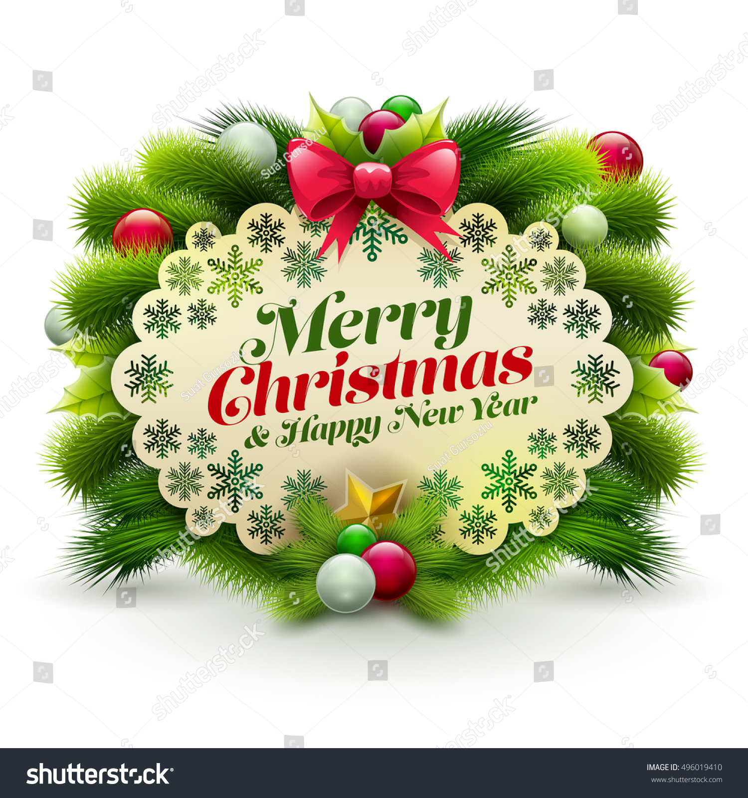 Christmas New Year Greeting Message Card Stock Vector 496019410