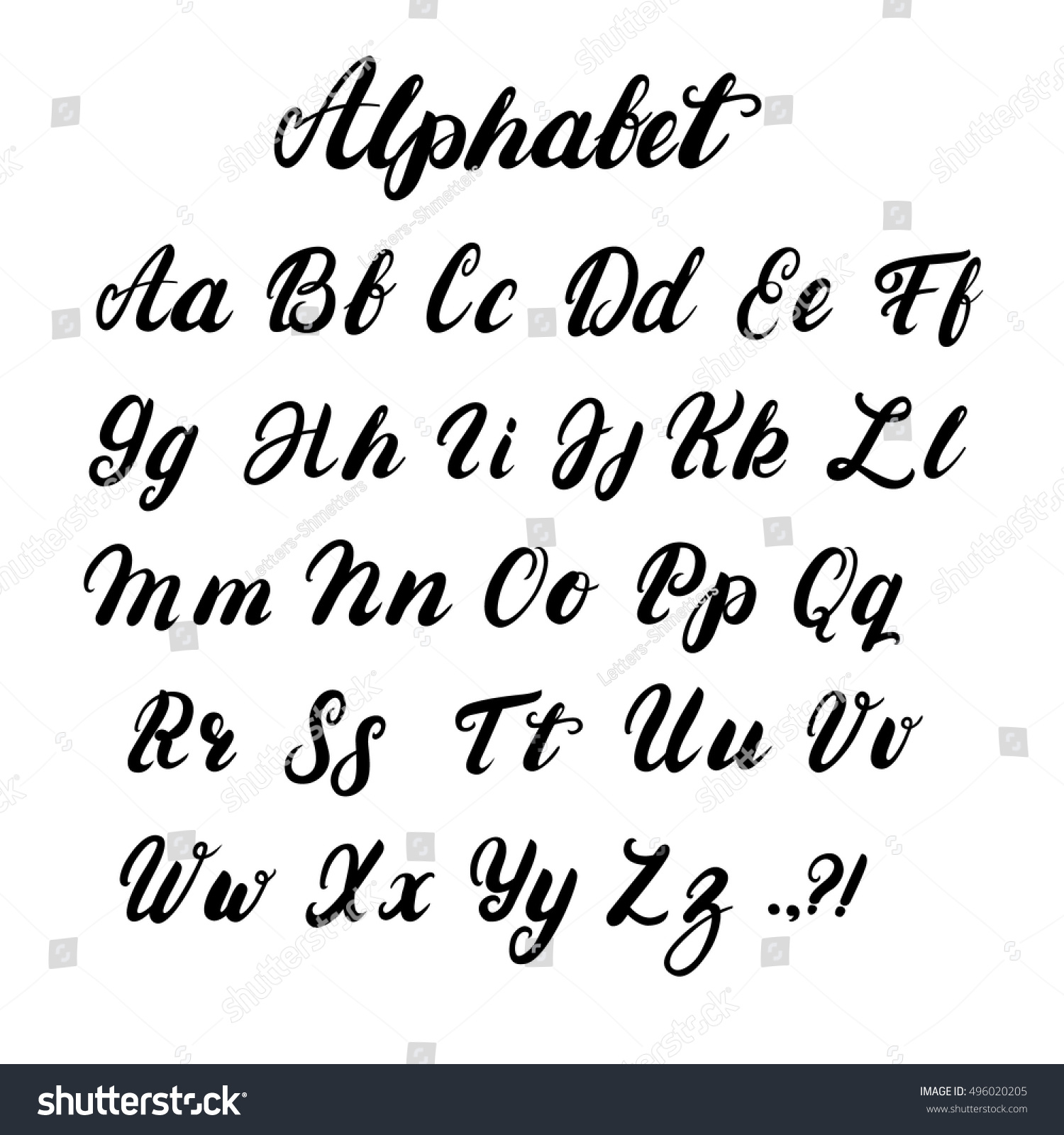 hand written lowercase uppercase calligraphy alphabet stock vector