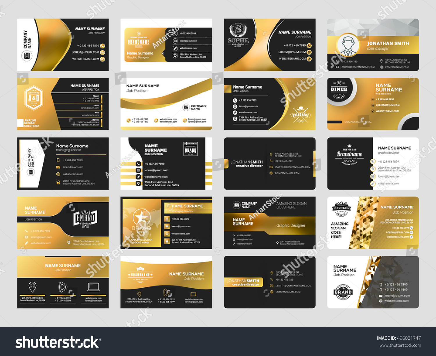 Set Elegant Doublesided Business Card Templates Stock Vector 2018