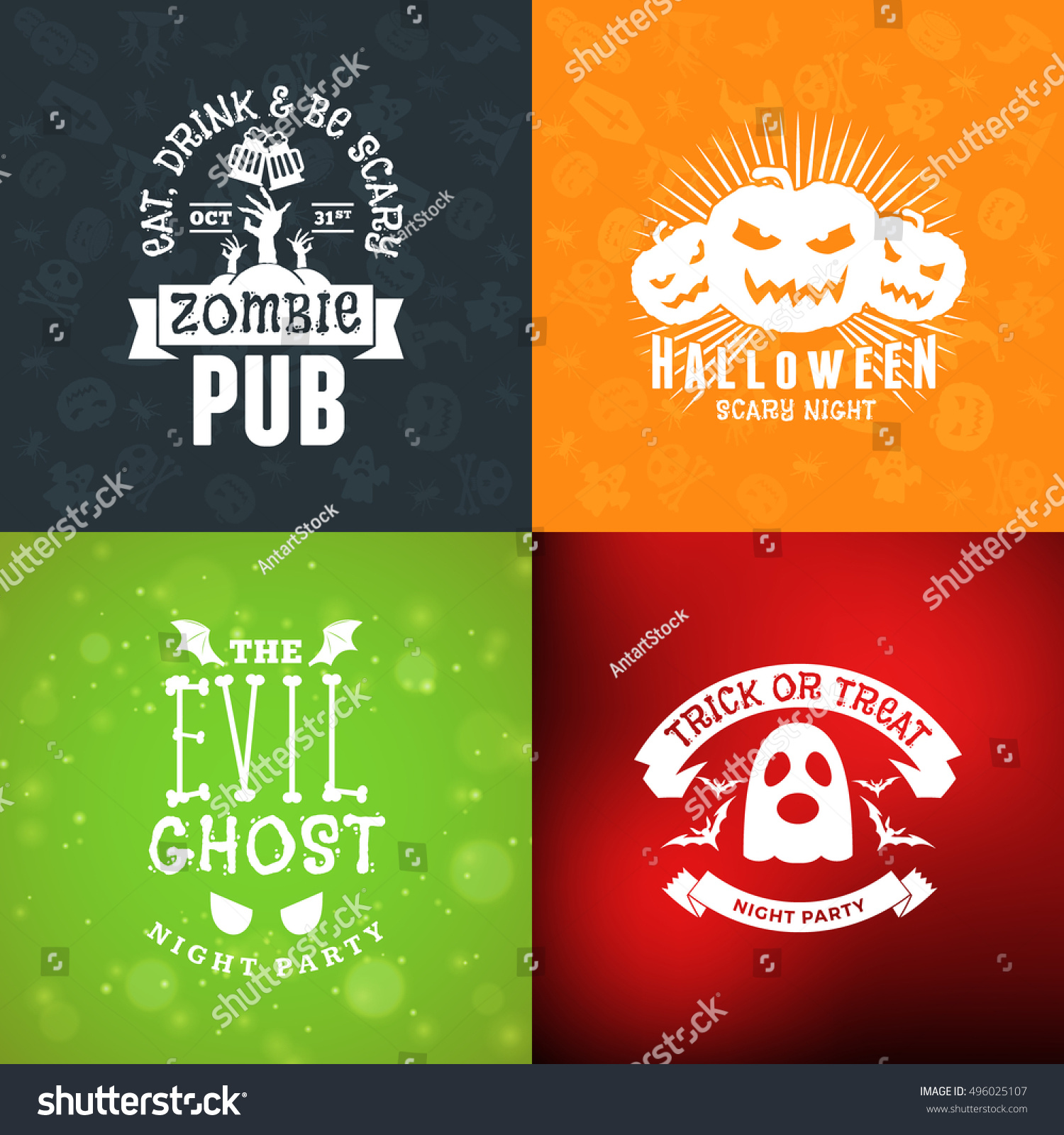 Set retro happy halloween badges design stock vector 496025107 set of retro happy halloween badges design element for greetings card or party flyer kristyandbryce Images