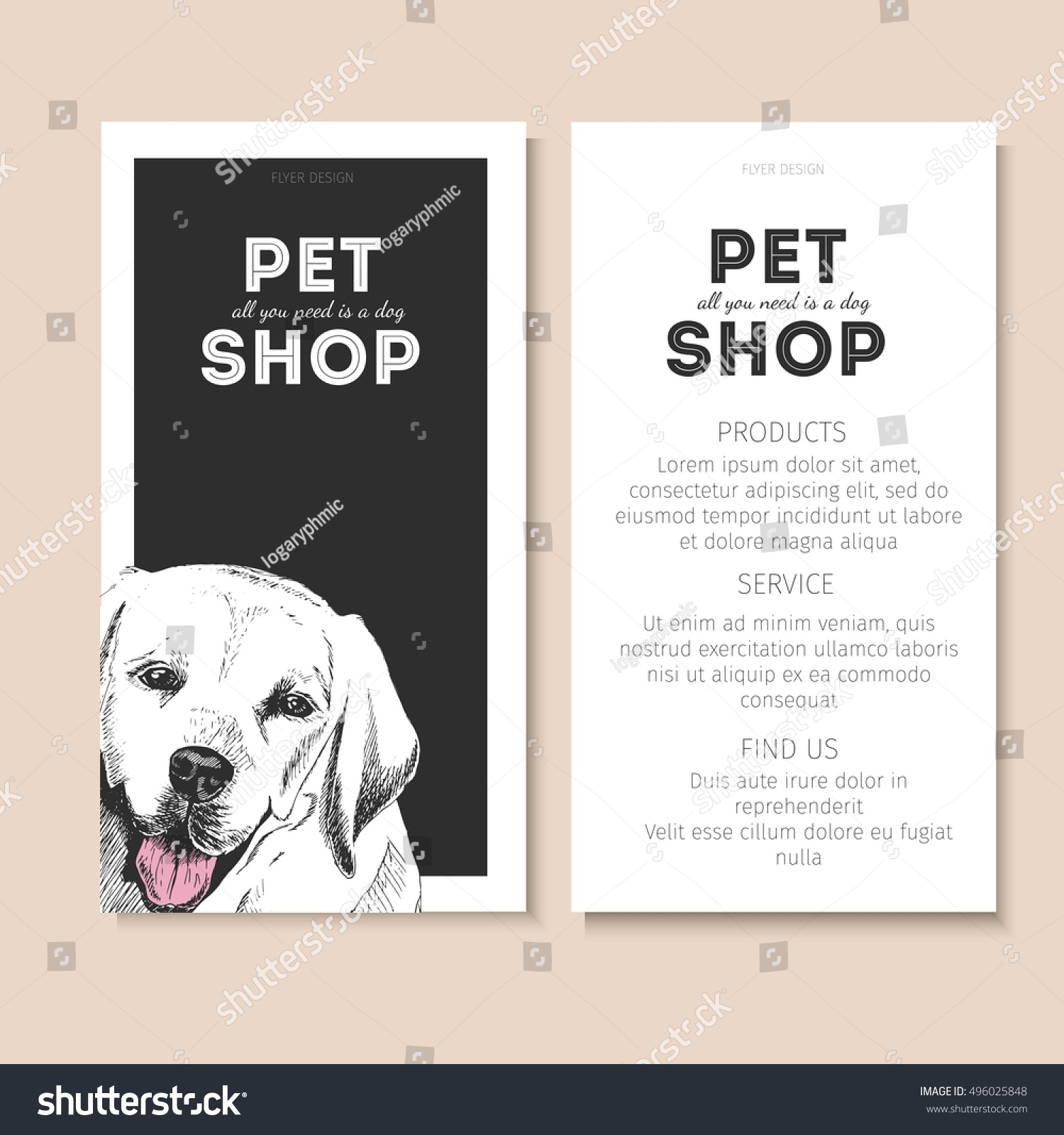 Vector Set Pet Shop Flyers Dog Stock Vector 496025848 - Shutterstock
