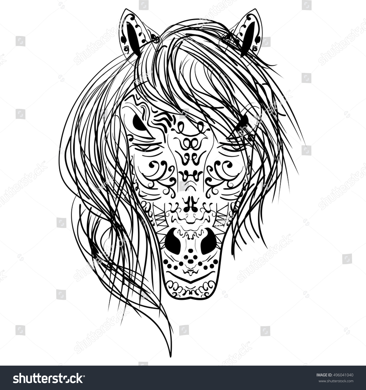 Head Horse Coloring Book Adults Vector Stock Vector Royalty Free