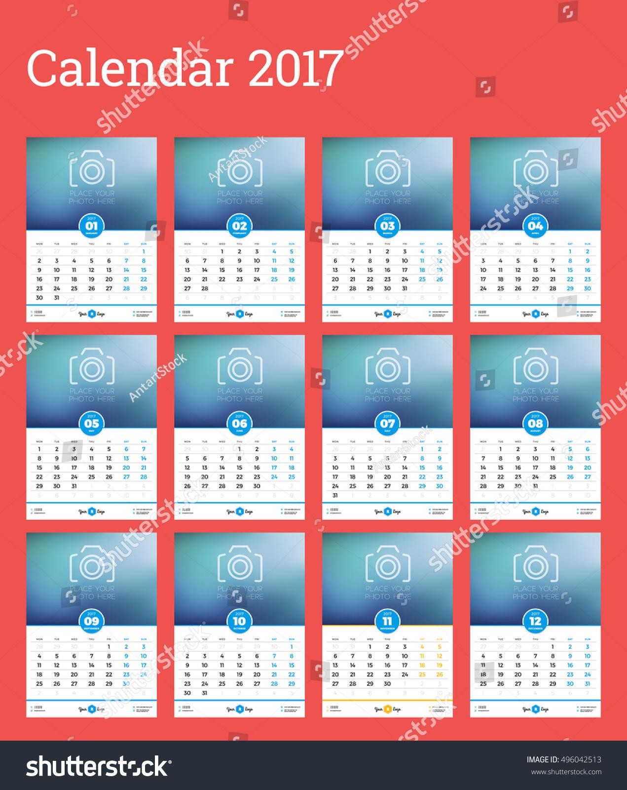 Calendar Poster Design : Wall calendar template year stock vector