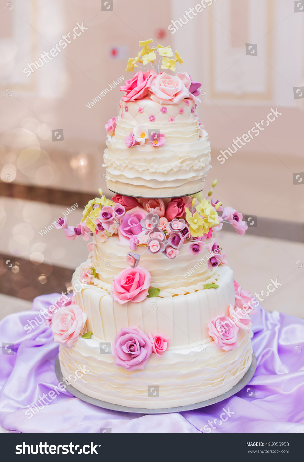 White Wedding Cake With Flowers On Holiday Background Dessert