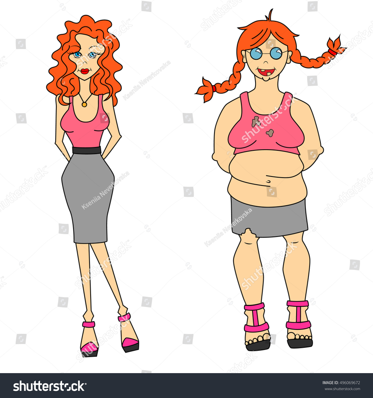 Vector Illustration Thick Thin Ugly Beautiful Stock Vector 496069672 - Shutterstock-2247