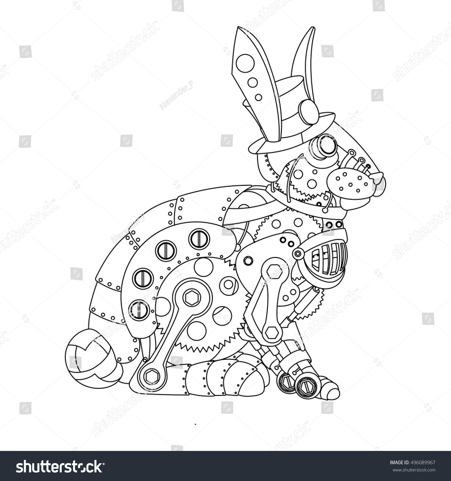steampunk style rabbit mechanical animal coloring stock vector